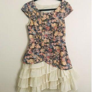 MODCLOTH Cosima Compton Floral Ruffle Dress Size M