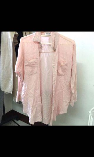 粉色襯衫小外套