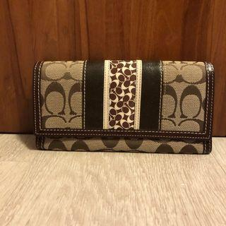 🚚 Coach Long Leather and Fabric Wallet