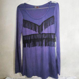 Blouse Cewe Seken Ungu Trendy Fashionable Kondisi Bagus