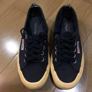 🚚 Superga 義大利 深藍色帆布鞋 35號
