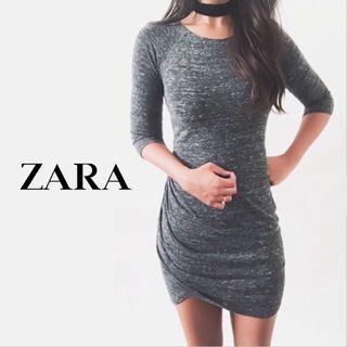 ZARA   Charcoal Grey Marl Bodycon Dress