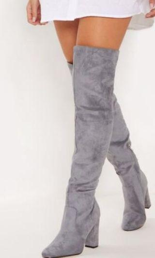 Grey Over the knee high boots NEW