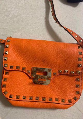 valentino rockstud crossbody small bag orange