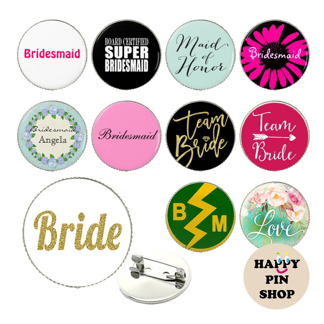 [20% OFF] Hen's Night, Gatecrash, Bridal Shower, Wedding Pins - Readymade & Customised, Personalised available!