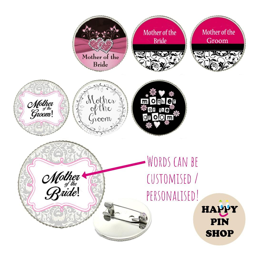 [20% OFF] Wedding Cabochon Pins for Family - Readymade & Customised, Personalised available!