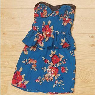 Blue Floral Peplum Strapless Dress