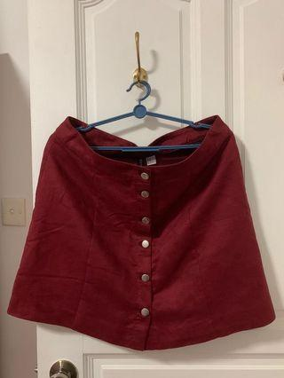 🚚 Maroon Button Down Skirt
