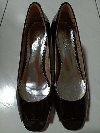 Pazzion Black Wedge Open Toe Heels Size 39