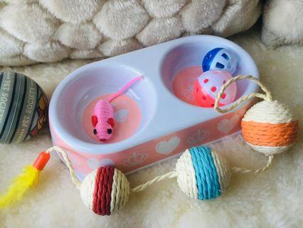 Pet double side food bowl & toys