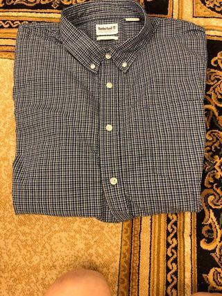 Timberland藍色格子襯衫