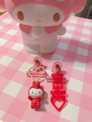Handmade Hello Kitty Rody 耳環❤️