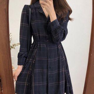 長袖格子洋裝 當時購入350$
