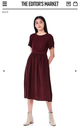 TEM LENNON OPEN-BACK DRESS IN BURGUNDY