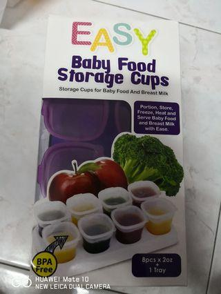 Baby food storage cups