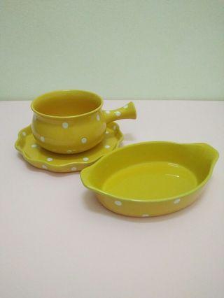 Yellow polka dots plates and bowls (SET)