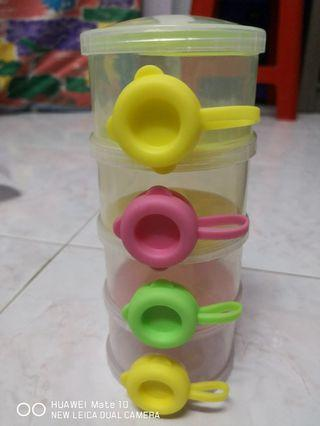 Portable Four Layer Stackable Milk Powder Container Dispenser