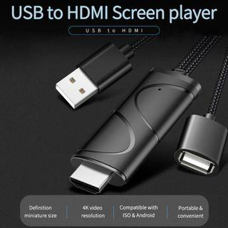 USB 轉 HDMI 鏡像線 (Android & IOS) 4K USB to HDMI AV Cable