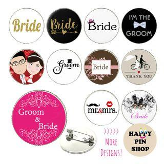 [20% OFF] Cabochon Pins: Gatecrash, Hen's Night, Stag Night, Wedding Actual Day, Couple Pins, Door Gift - Readymade & Customised, Personalised available!