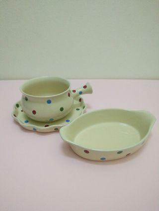 White polka dots plates and bowls (SET)