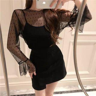 黑色網紗+吊帶