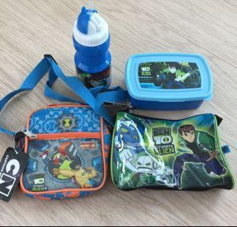 🚚 Ben 10 Water Bottle, Lunch Box, Bag And Pouch