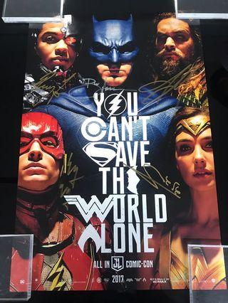 Justice league SDCC 2017 poster signed by cast members