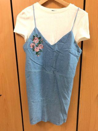 🚚 Something Borrowed 2-in-1 Slip Light Denim Dress with Floral Embroidery and White Knit Crop Top (S)