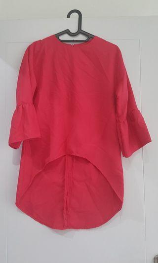 Atasan blouse shocking pink lengan panjang hijab muslim baju kerja size M fit to L loose