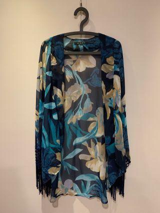 🚚 復古\印花\和服式 雪紡流蘇罩衫(二手)