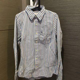🚚 Abercrombie & Fitch 直條襯衫 M號 藍 復古 仿舊設計 出清 賠售