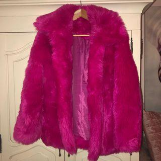 Hot pink faux fur coat