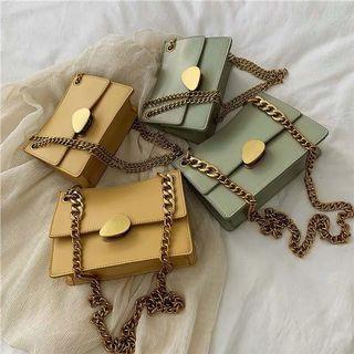🚚 附實拍 預購 斜背包 鍊條小包 金屬片 純色 單色系 三角形 梯形
