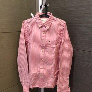 🚚 Abercrombie & Fitch 直條襯衫 粉紅 M號 出清 賠售