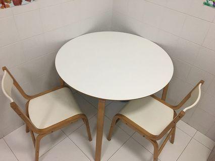 🚚 White wood round table