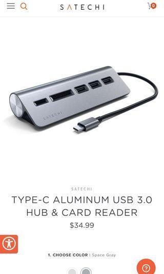 Satechi Type-C USB 3.0 Hub & Card Reader Aluminum