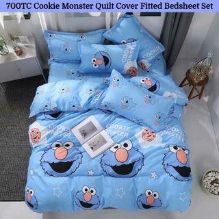 🔥Hari Raya🔥Cookie Monster Fitted Bedsheet Quilt Cover Set