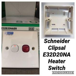 LIMITED PERIOD ONLY!!! Schneider Clipsal E32D20NA Double Pole 20A Heater Switch With Neon.