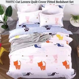 🔥Hari Raya🔥Cat Lover Soft Fitted Bedsheet Quilt Cover Set