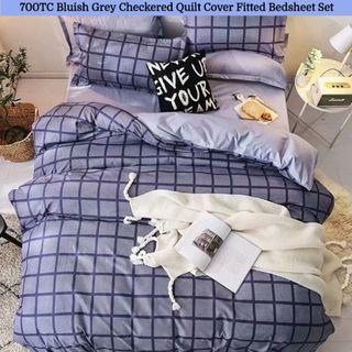 🔥Hari Raya🔥Checkered Soft Fitted Bedsheet Quilt Cover Set