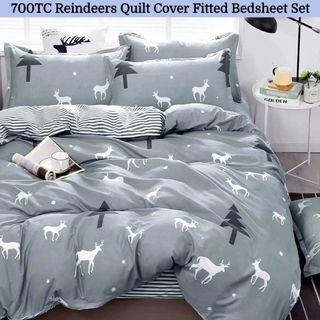 🔥Hari Raya🔥Reindeer Soft Fitted Bedsheet Quilt Cover Set