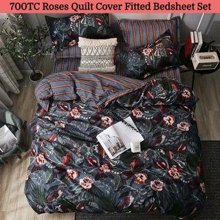 🔥Hari Raya🔥Roses Soft Fitted Bedsheet Quilt Cover Set