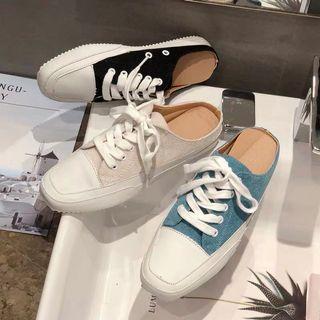 預購 韓國爆款 帆布涼拖鞋 半拖鞋 包頭鞋 懶人鞋 女鞋 帆布鞋 軟底舒服 跟高3公分 方頭鞋 平底鞋 低跟鞋