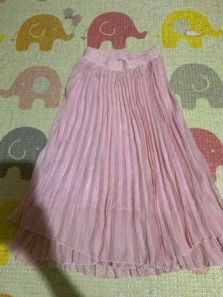 馬卡龍粉紅 細百摺長裙