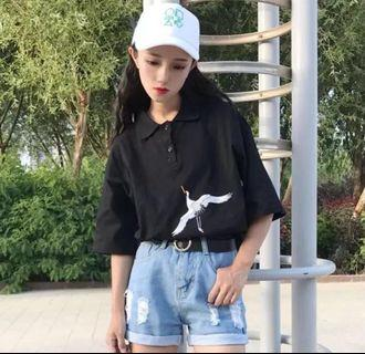 BN Korean Embroidered Black Polo Shirt Tee