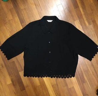 Black Crochet Crop Blouse