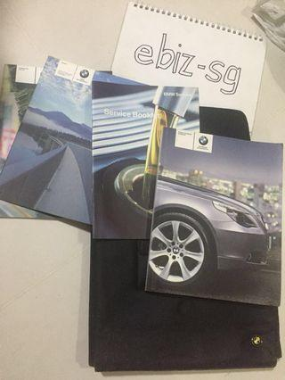 BMW 5 Series E60 car manual, service log book and leather case