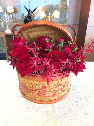 Oriental Asian Chinese vintage basket with floral design