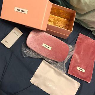 Miumiu眼鏡盒 太陽眼鏡盒 包紙盒 布袋 眼鏡布