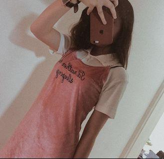 🚚 連身裙- 歐美 粉色 法蘭絨 英文刺繡 吊帶 連身裙